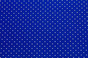 Tricoline Poá Branco fundo Azul Royal ( 0,50 m x 1,40 m )