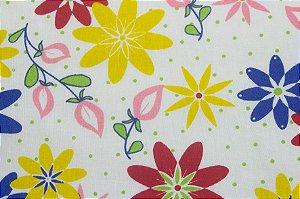 Tricoline Floral Colorido fundo Branco ( 0,50 m x 1,40 m )