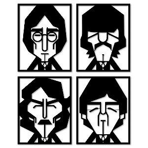 Aplique de Parede Minimalista The Beatles Em Madeira