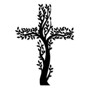 Aplique de Parede Religioso Cruz e Ramos Em Madeira