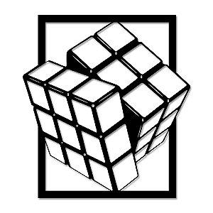 Aplique de Parede Geométrico Cubo Mágico Em Madeira