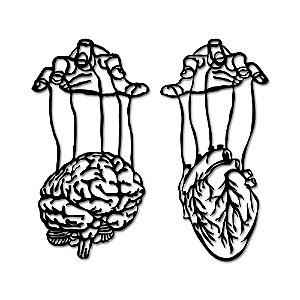 Aplique de Parede Cérebro e Coração Em Madeira