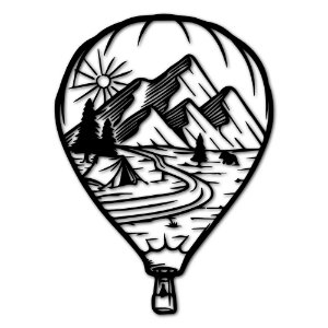 Aplique de Parede Balão Montanhas Em Madeira