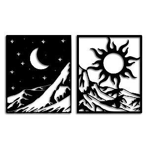 Aplique de Parede Fases da Montanha - Dia e Noite Em Madeira