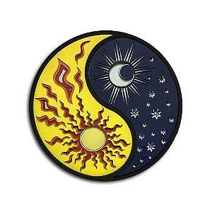 Quadro Decorativo 3D Yin Yang Sol e Lua Em Madeira
