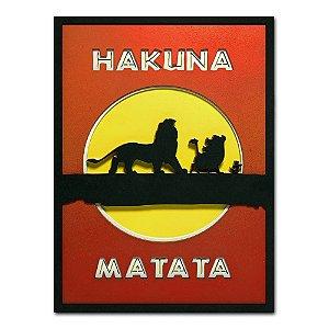 Quadro Decorativo 3D Hakuna Matata - O Rei Leão Em Madeira