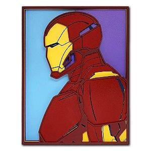 Quadro Decorativo 3D Geek Homem De Ferro - Iron Man Em Madeira