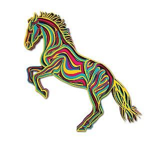 Quadro Decorativo 3D Cavalo Colorido Em Madeira