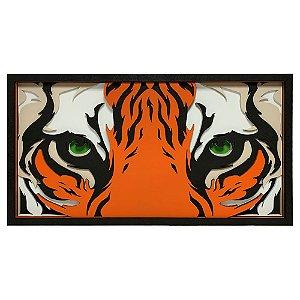 Quadro Decorativo 3D Olho Do Tigre - Eye Of The Tiger Em Madeira