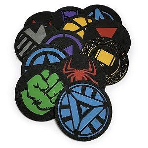 Porta Copos Bolacha de Chopp Geek Vingadores Marvel - Jogo com 12 unidades