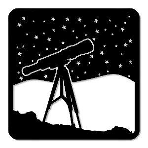 Aplique de Parede Telescópio Universo Em Madeira