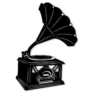 Aplique de Parede Vintage Gramofone Em Madeira