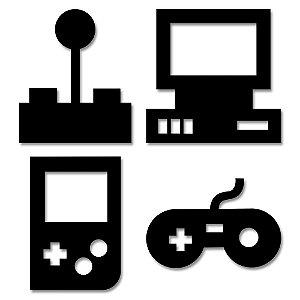 Aplique de Parede Vintage Video Games Em Madeira