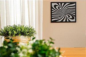 Quadro decorativo abstrato espiral madeira mdf com relevo 32x37 cm