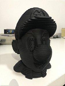 Cabeça do Mario 3D em MDF Preta 17cm