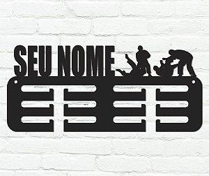Porta Medalhas Jiu Jitsu Personalizado em madeira mdf 12 ganchos
