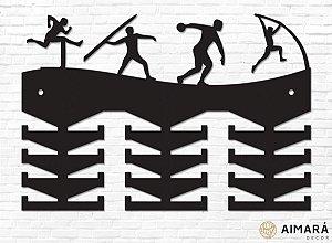 Porta Medalhas Atletismo Ilustrações em madeira mdf 24 ganchos