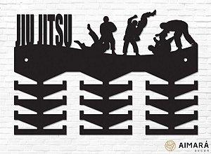 Porta Medalhas Jiu Jitsu em madeira mdf 24 ganchos
