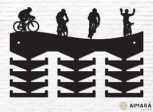 Porta Medalhas Ciclismo Ilustrações em madeira mdf 24 ganchos