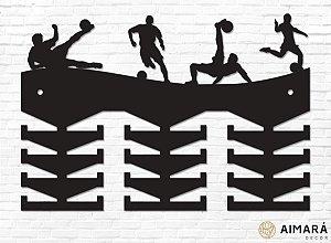 Porta Medalhas Futebol Ilustrações em madeira mdf 24 ganchos