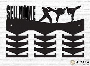 Porta Medalhas Personalizado Taekwondo em madeira mdf 24 ganchos