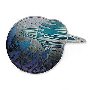 Quadro Decorativo Hanaq Saturno Com Relevo Em Madeira
