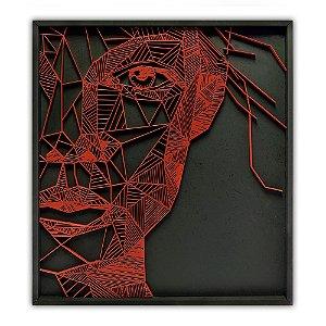 Quadro Decorativo Geométrico Huitaca Rosto Feminino em Madeira