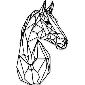 Aplique de Parede Cavalo Geométrico Em Madeira