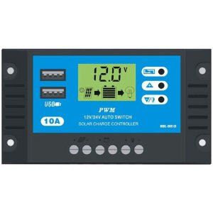 Controlador De Carga Solar 10a 12e24v Pwm C/ Lcd Usb
