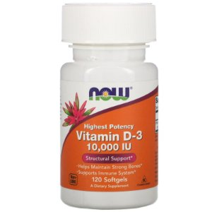 Now Foods, Vitamina D-3, Alta Potência, 10.000 UI, 120 Softgels