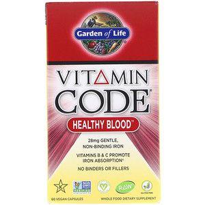 Garden of Life, Vitamin Code, Healthy Blood, 60 Cápsulas Veganas