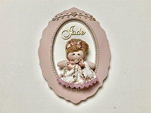 Porta maternidade oval tema boneca cor rosê personalizado