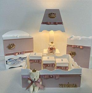 kit higiene bebê tema coroa premium rosa seco 7 peças