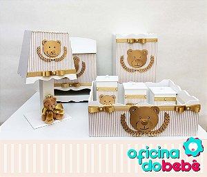 Kit Higiene Completo MDF - Dourado Listrado - 400614