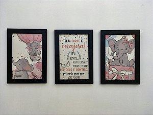 Trio de Quadros Elefantinha Corajosa
