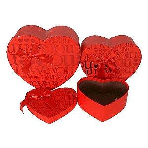 3 Caixas Para Presente de Papel Rígido De Coração - Vermelha