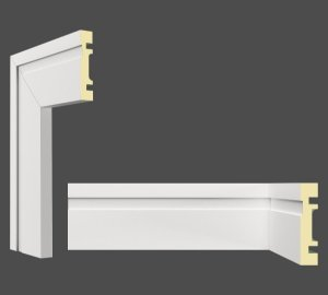 Rodapé e Guarnição Branco em MDF 10cm com friso moderno - preço por barra com 2,40 metros lineares * com vão para passar fio