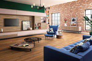 Piso Laminado Eucafloor Prime sistema de montagem com cola - cor Carvalho - preço por caixa com 2,14 m²