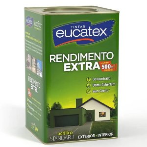Eucatex Acrílico Rendimento Extra lata 18 lts Palha Fosco rende até 500m² por demão