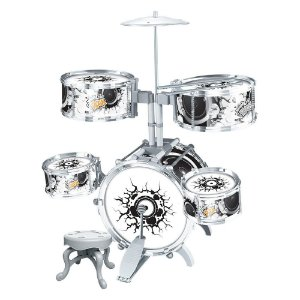 Bateria Musical Infantil Rock Party com Pedal - DM Toys