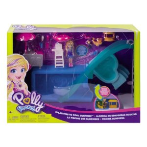 GFK51 Playset e Boneca - Polly Pocket - Piscina Surpresas Escondidas - Mattel