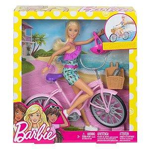 FTV26 Boneca Barbie e Veículo - Barbie e Bicicleta - Mattel