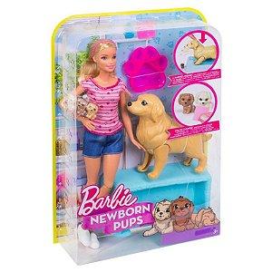Fbn17 Boneca Barbie Family - Loira - Filhotinhos Recém-Nascidos - Mattel