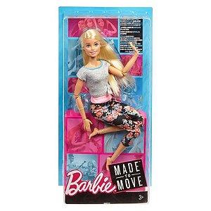 Ftg80 Barbie - Feita para Mexer - Aula de Yoga - Blusa Cinza e Rosa - Mattel