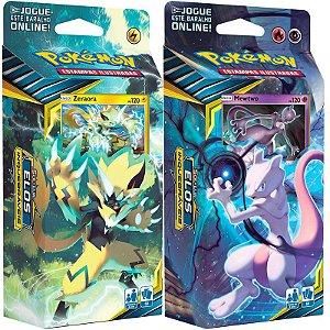2 Decks Cards Pokémon Sol e Lua 10 Elos Inquebráveis Mewtwo e Zeraora - Copag