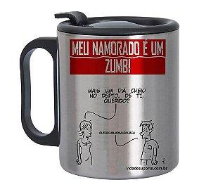 Caneca de Alumínio com Tampa para Meu namorado é um Zumbi