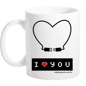 Caneca Branca I Love You USB