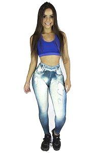 Calça Legging Jeans Sublimada Azul Detalhe joelho
