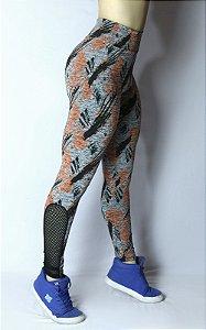 Calça Legging Mescla Estampada com Telinha