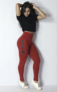 Calça Legging de Telinha com Corte à Laser